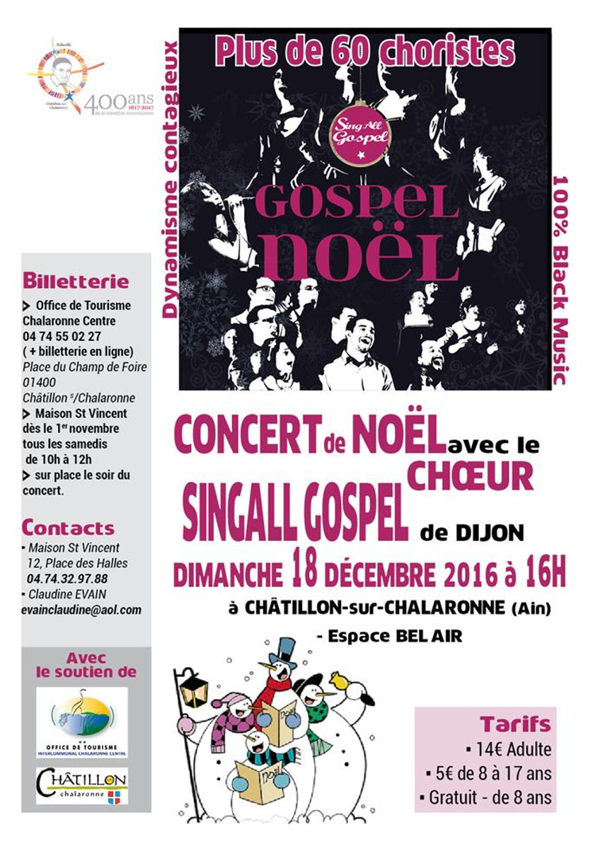 Concert Gospel Noël à Châtillon sur Chalaronne
