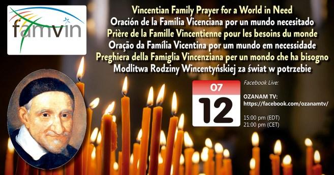 12 juillet : Prière de la Famille Vincentienne en faveur d'un monde fragilisée (En direct sur Facebook)
