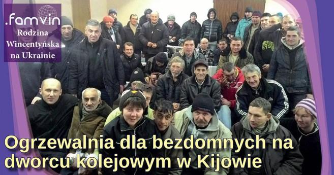 Ogrzewalnia dla bezdomnych na dworcu kolejowym w Kijowie
