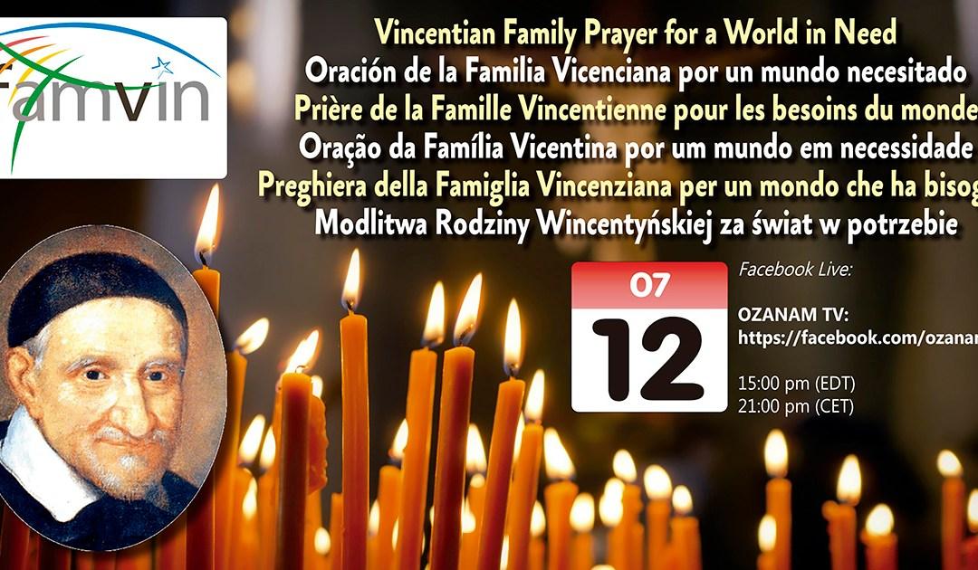 12 lipca: Modlitwa Rodziny Wincentyńskiej za świat w potrzebie (Facebook Live)