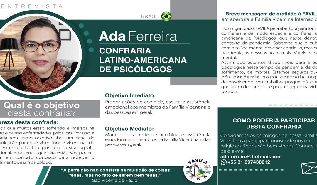 Entrevista com Ada Ferreira, coordenadora da Confraria de Psicólogos Vicentinos