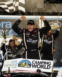 Johnny Sauter, driver of the #98 Carolina Nut Co./Curb Records Toyota, celebrates in victory lane after winning the NASCAR Camping World Truck Series NextEra Energy Resources 250 at Daytona International Speedway on Feb 22, 2013  Photo - Chris Graythen/Getty Images