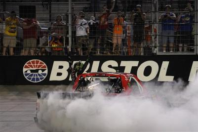 Kyle Busch, driver of the #51 ToyotaCare Toyota Celebrates after winning the UNOH 200 at Bristol Motor Speedway on August 21, 2013  Photo - John Harrelson/Getty Images