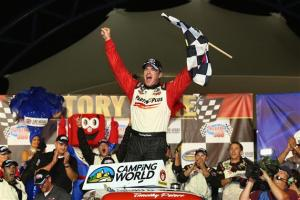 Timothy Peters, driver of the #17 Parts Plus Toyota, celebrates in victory lane after winning the NASCAR Camping World Truck Series Smith's 350 at Las Vegas Motor Speedway on September 28, 2013  Photo - Todd Warshaw/Getty Images