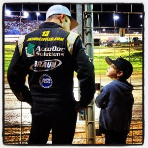 Jason Leffler checks out the track with his son Charlie Dean  Photo - JasonLeffler.com