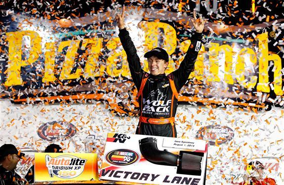 Brandon Jones celebrates his Autolite Iridium XP 150 victory on Friday night in Iowa Speedway, his first NASCAR K&N Pro Series win. Photo - Getty Images