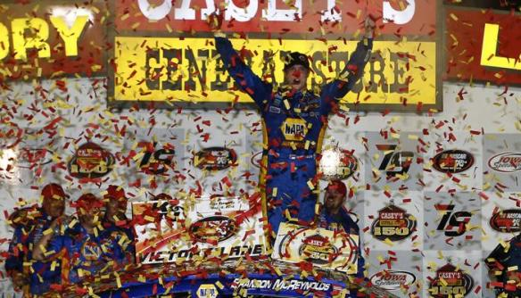 Brandon McReynolds celebrates in Victory Lane at Iowa Speedway after winning the Casey's General Store 150 Saturday night. Photo - Jeff Zelevansky/Getty Images