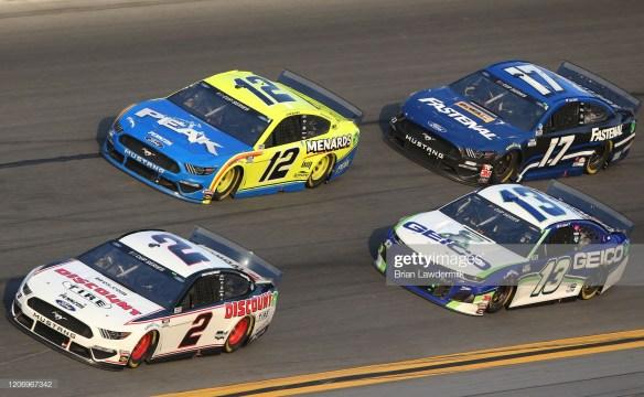 Brad Keselowski leads the field in the Daytona 500 at Daytona International Speedway