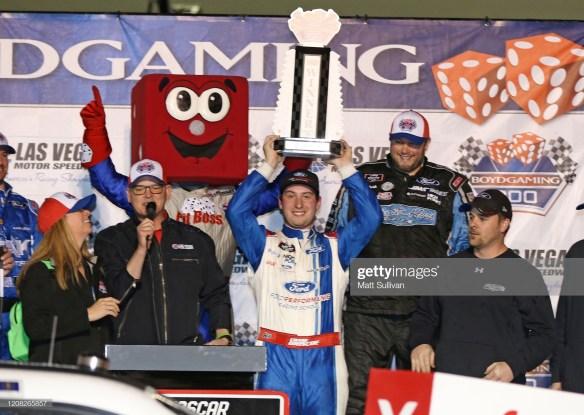 Chase Briscoe celebrates winning the Boyd Gaming 300 at Las Vegas Motor Speedway.