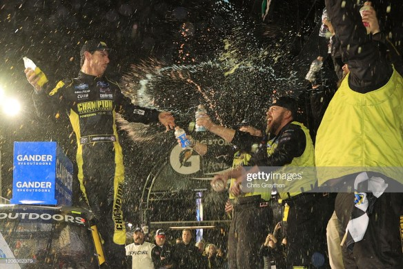 Grant Enfinger celebrates in Victory Lane at Daytona International Speedway