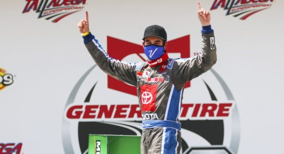 Drew Dollar's first win in the General Tire 200 at Talladega Superspeedway continues Venturini Motorsports dominance this season with three victories in three races.