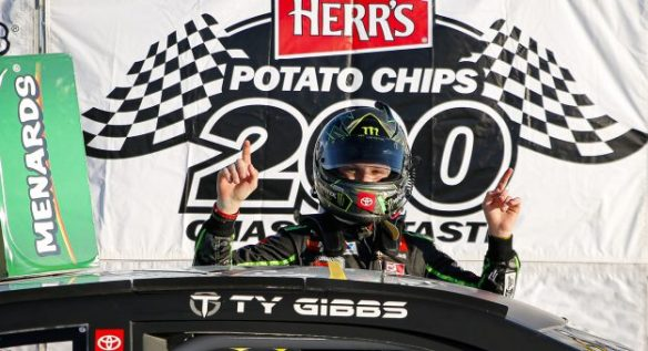 Ty Gibbs finishes the job to earn the ARCA Menards Series East Herr's Potato Chips 200 win at Toledo Speedway on Saturday, June 13, 2020.
