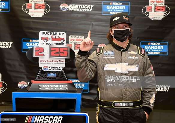 Sheldon Creed gets first NASCAR victory of his career in the NASCAR Gander RV & Outdoors Truck Series Buckle Up Your Truck 225 at Kentucky Speedway on Saturday, July 11th.