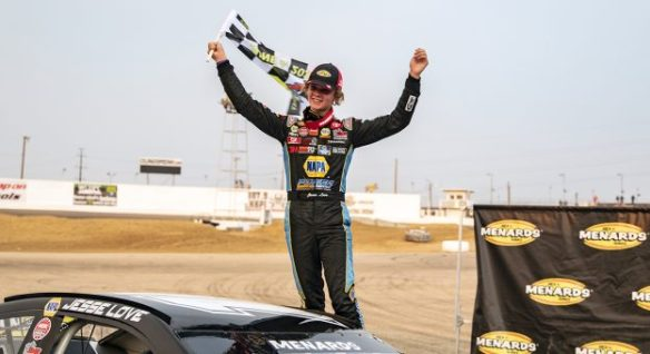 Jesse Love wrestles away a win in the ARCA Menards Series West ENEOS 150 presented by NAPA Auto Parts at Colorado National Speedway.