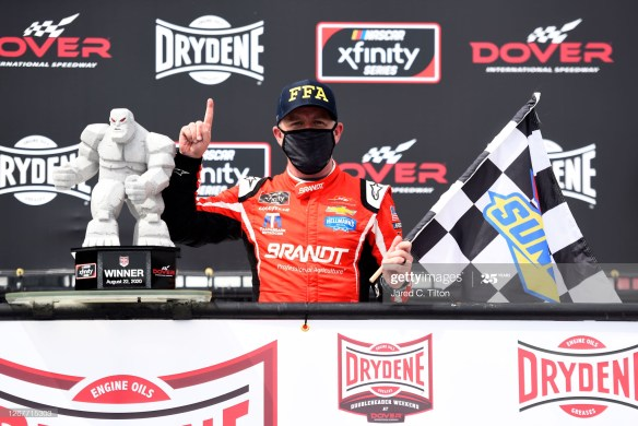 A fired-up Justin Allgaier drives to a NASCAR Xfinity Series Drydene 200 victory on Saturday afternoon at Dover International Speedway.