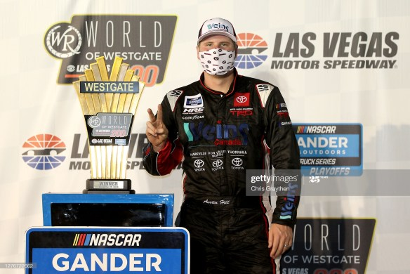Austin Hill wins in Las Vegas for the NASCAR Gander RV & Outdoors Truck Series World of Westgate 200 on Friday night at Las Vegas Motor Speedway.