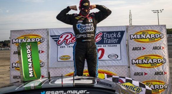 Sam Mayer continues his dominance at Toledo Speedway in the ARCA Menards Series and ARCA East Royal Truck & Trailer 200 on Saturday afternoon.