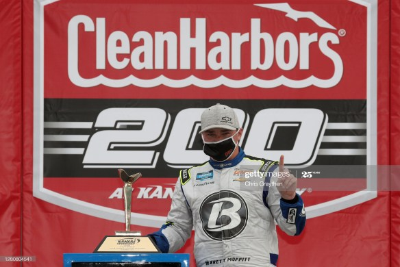 Brett Moffitt earns his first win of 2020 in the NASCAR Gander RV & Outdoors Truck Series, Clean Harbors 200 at Kansas Speedway on Saturday afternoon.