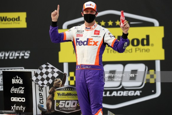 Conservative strategy pays off for Denny Hamlin in the NASCAR Cup Series YellaWood 500 at Talladega Superspeedway on Sunday afternoon.