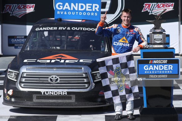Raphael Lessard gets his first win in the NASCAR Gander RV & Outdoors Truck Series Chevy Silverado 250 at Talladega Superspeedway.