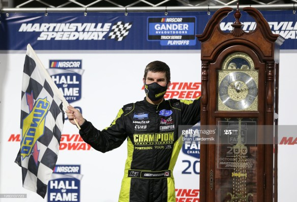 Grant Enfinger wins at Martinsville Speedway in the NASCAR Xfinity Series, NASCAR Hall of Fame 200 on Friday night in Martinsville, Virginia.