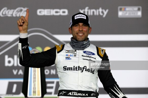Floridian Aric Almirola wins the NASCAR Cup Series Duel 1 on Thursday night at Daytona International Speedway.