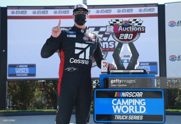 Kyle Busch dominates in the NASCAR Truck Race at Atlanta Motor Speedway in the Fr8Auctions 200 for his own team Kyle Busch Motorsports.