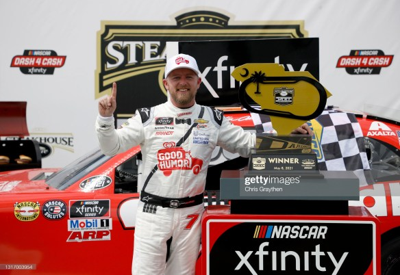 Justin Allgaier pulls off a dramatic overtime victory at Darlington in the NASCAR Xfinity Series Steakhouse Elite 200 on Saturday afternoon.