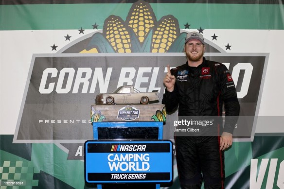 Austin Hill wins the inaugural NASCAR Truck Series race at KnoxvilleRaceway in a drama-filled Corn Belt 150 on Friday night in Iowa.