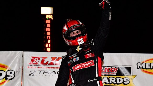 Corey Heim muscles by Ty Gibbs to win Menards 250 at Elko Speedway in the ARCA Menards Series and Sioux Chief Showdown on Saturday night.