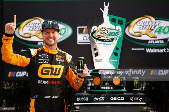 Kurt wins in Busch family duel to secure his playoff bid in the NASCAR Cup Series Quaker State 400 at Atlanta Motor Speedway on Sunday.