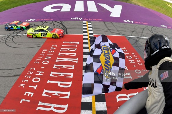 Ryan Blaney upsets the field at Michigan International Speedway in the NASCAR Cup Series FireKeepers Casino 400 on Sunday.
