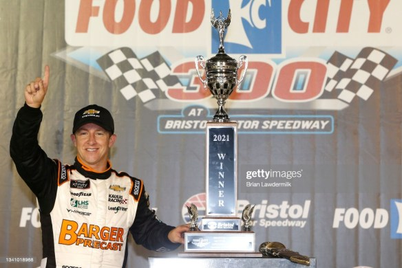 AJ Allmendinger wins big at Bristol Motor Speedway in the Food City 300 with the NASCAR Xfinity Series 2021 Championship on Friday night.