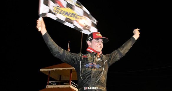 Landon Lewis dominates at DuQuoin for his first ARCA win in his second start in the Southern Illinois 100 presented by Lucas Oil on Sunday night.