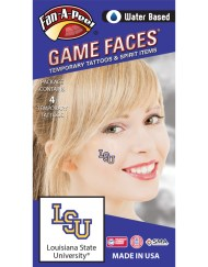 C-50_Fr - Louisiana State University (LSU) Tigers - Water Based Temporary Spirit Tattoos - 4-Piece - Purple/Gold LSU Logo