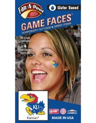 CB-16_Fr - Kansas University (KU) Jayhawks - Water Based Temporary Spirit Tattoos - 4-Piece - Crimson/Blue/Yellow Big Jay Logo