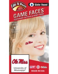 CF-30_Fr - University of Mississippi (Ole Miss) Rebels - Water Based Temporary Spirit Tattoos - 4-Piece - Red/Navy Blue Ole Miss