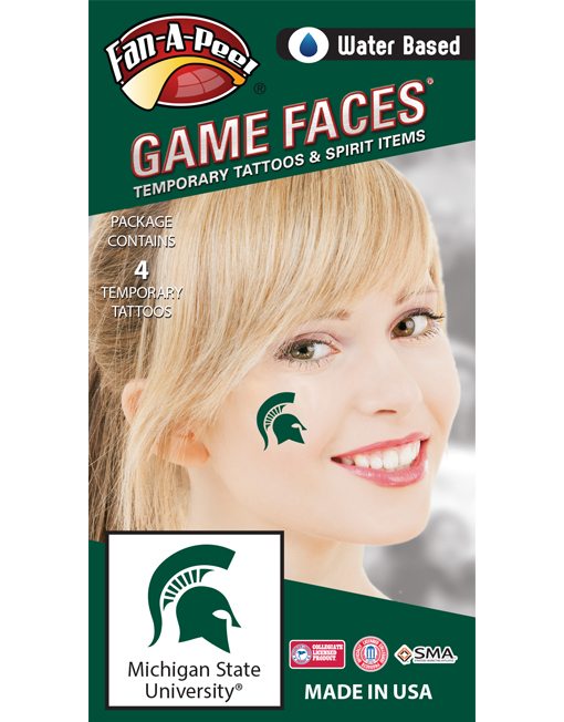CF-80_Fr - Michigan State University (MSU) Spartans - Water Based Temporary Spirit Tattoos - 4-Piece - Green Sparty Helmet