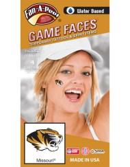 CF-96-R_Fr - University of Missouri (MU) Tigers - Water Based Temporary Spirit Tattoos - 4-Piece - Black/Gold Truman Tiger Head Logo