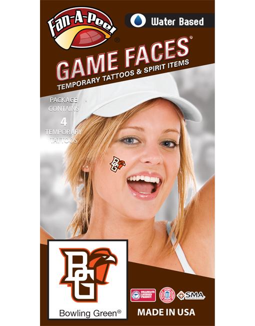 CH-110-R_Fr - Bowling Green State University (BGSU) Falcons - Water Based Temporary Spirit Tattoos - 4-Piece - Orange/Brown BG Logo
