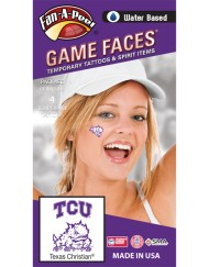 CH-70-R_Fr - Texas Christian University (TCU) Horned Frogs - Water Based Temporary Spirit Tattoos - 4-Piece - 2 Purple/White TCU Logo & 2 Purple Super Frog Logo
