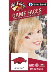 CJ-37_Fr - University of Arkansas (UARK) Razorbacks - Water Based Temporary Spirit Tattoos - 4-Piece - Red/Black/White Tusk Logo