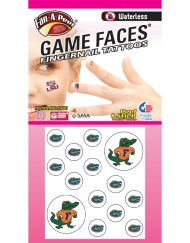 FN-14-R_Fr - University of Florida (UF) Gators - Waterless Peel & Stick Temporary Tattoos - 14-Piece Combo - 12 Green/Orange/Blue Gator Head Oval Fingernail Tattoos & 2 Green/Orange Vintage F-Sweater Gator Logo Spirit Tattoos