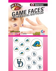 FN-171-R_Fr - University of Delaware (UD) Fightin' Blue Hens - Waterless Peel & Stick Temporary Tattoos - 14-Piece Combo - 12 Fingernail Tattoos & 2 Spirit Tattoos – Blue/Yellow Hen Head Logo & Blue UD Logo