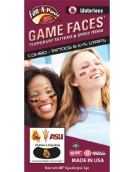 CP-39-R_Fr - Arizona State University (ASU) Sun Devils - Waterless Peel & Stick Temporary Tattoos - 12-Piece Combo - Flaming Sparky & Trident Logo & ASU Logo Spirit Tattoos & Flaming Sparky on Black Eye Strips