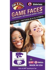 CP-92-R_Fr - Kansas State University (KSU) Wildcats - Waterless Peel & Stick Temporary Tattoos - 12-Piece Combo - 8 Purple Willie Cat Head Logo Spirit Tattoos & 4 White Willie Cat Head Logo on Purple Eye Strips