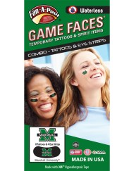 CP-177-R_Fr - Marshall University Thundering Herd - Waterless Peel & Stick Temporary Tattoos - 12-Piece Combo - 8 Green M Logo Spirit Tattoos & 4 Green M Logo on Black Eye Strips