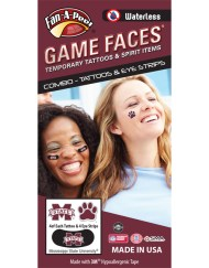 CP-54-R_Fr - Mississippi State University (MSU) Bulldogs - Waterless Peel & Stick Temporary Tattoos - 12-Piece Combo - 4 Maroon/White M-State Logo & 4 Maroon/White Paw Print Spirit Tattoos & 4 M-State Logo on Black Eye Strips