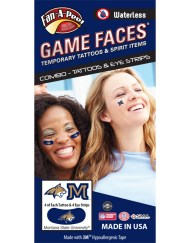 CP-148-R_Fr - Montana State University (MSU) Bobcats - Waterless Peel & Stick Temporary Tattoos - 12-Piece Combo - 4 Gold/Blue Champ Head Logo & 4 Gold/Blue M Logo Spirit Tattoos & 4 Gold Champ Head Logo on Blue Eye Strips