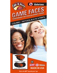 CP-184-R_Fr - Oregon State University (OSU) Beavers - Waterless Peel & Stick Temporary Tattoos - 12-Piece Combo - 8 Orange Beaver Head Logo Spirit Tattoos & 4 Orange Beaver Head Logo on Black Eye Strips